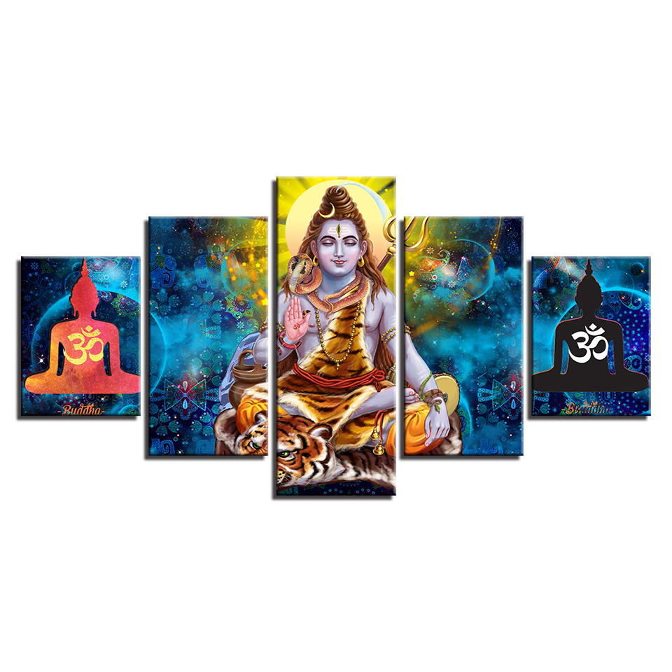 HD Printed Abstract Canvas Pictures Wall Art 5 Pieces Hindu Lord Shiva Painting Modular OM Poster Home Decor Living Room Framed