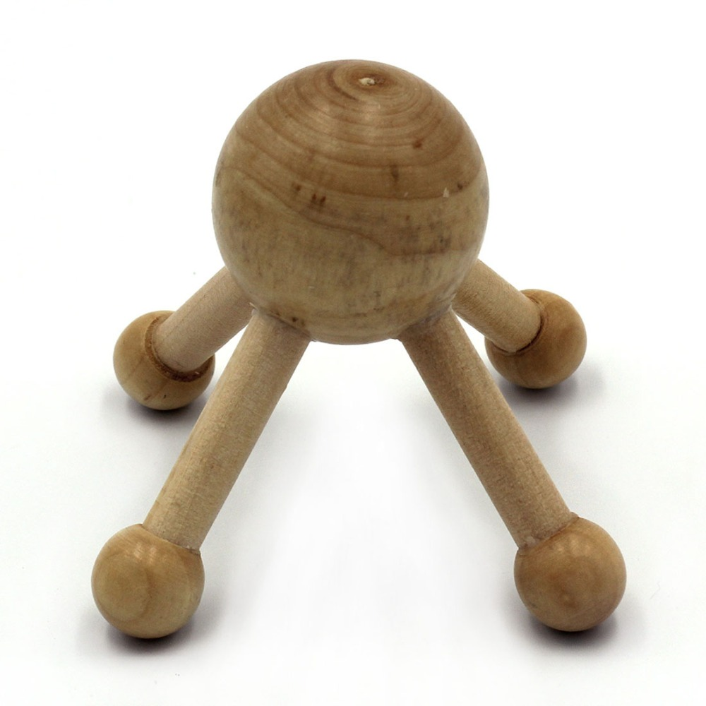 Wooden body massager, mini massager, universal simple massage for whole body, relieve muscle tension, woodSprut GESS octopus shaped multipoint head scalp massage manual massager stainless steel claws thread pattern handle with wooden ball end for stress relief blood circulation improvement