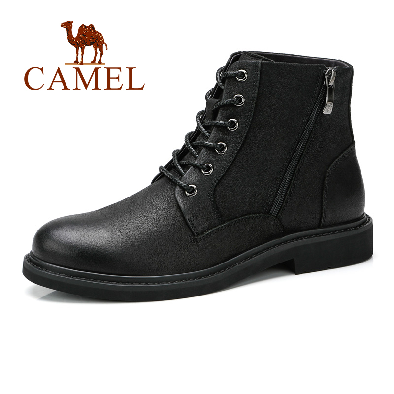 Autumn New High-top Tooling Men Boots Genuine Leather Black Trend Wild England Outdoor Male Shoes Bota Cow Leather Men Shoes