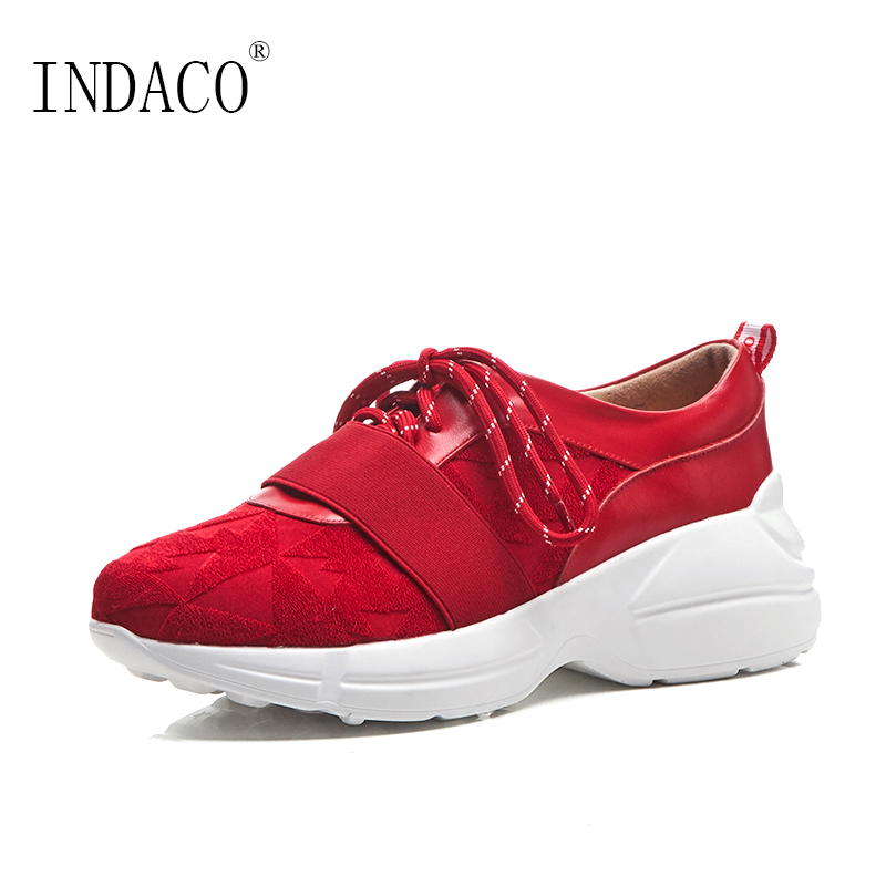 2018 Autumn Red Fashion Sneakers Women Platform Leather Lace Up Casual Shoes 6cm red off shoulder lace up elastic waistband casual co ords