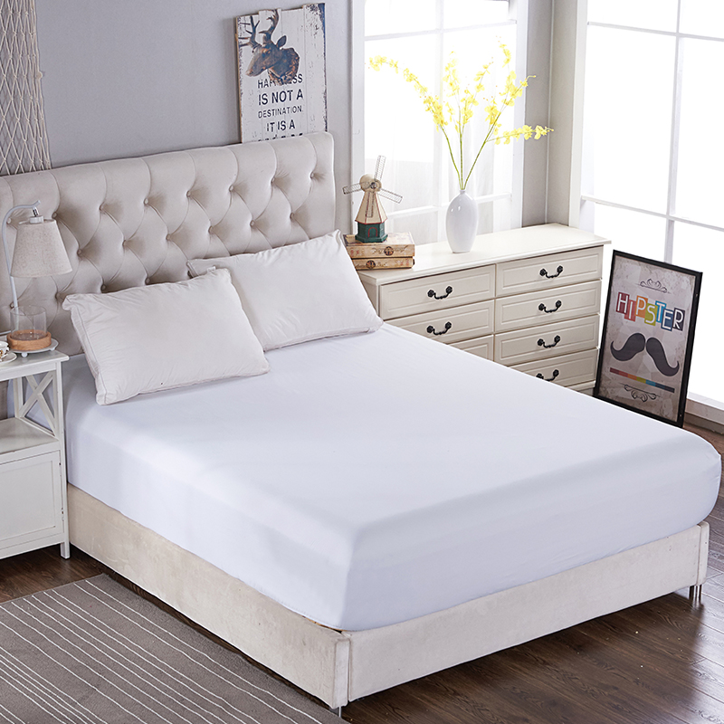 Solid Color Fitted Sheet 1 Piece Bed Sheets Bedsheet Mattress Cover Protective Case Bed Linen Bedding Twin Full Queen King Size in Sheet from Home Garden