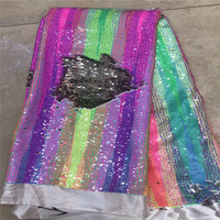 HFX Iridescent Multi Color African Wedding Dress Mesh Lace Nigeria French Net Lace Reversible Sequin Fabric For Party X1078 1