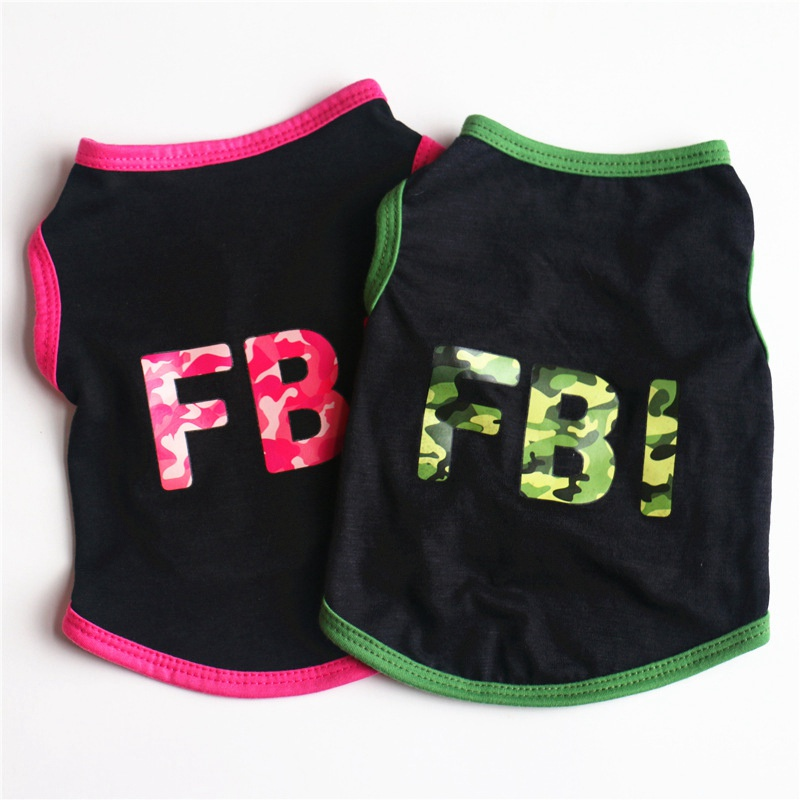 Cheap Pet Clothes For Dogs Letter Printing Cooling Vest Sleeveless Dog T-Shirt FBI Police FBI Grid Clothes Poodle Clothes E
