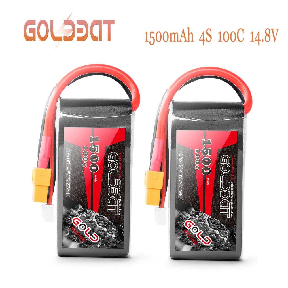 2 unidades GOLDBAT 14,8 V cargador de batería de 1500 mAh 4S Lipo cargador de batería 100C paquete lipo con XT60 enchufe para RC coche camión avión FPV