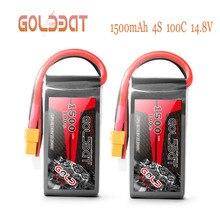 GOLDBAT batterie Lipo 4s 2 unités, 1500mAh 100C 14.8V, avec prise XT60, pour Drone FPV RC, voiture, camion, avion de course RC