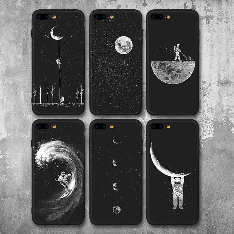 Newest Space Moon Astronaut Phone Cases For iphone 7 8 X Case For iphone 6 7plus XR XS Max Planet Star Frosted Soft Back Cover