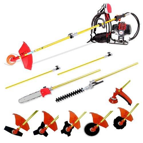 Back pack multi 10 em 1 cortador de escova, serra de corrente de snipper de whipper, aparador de sebes, podador de motor 52cc