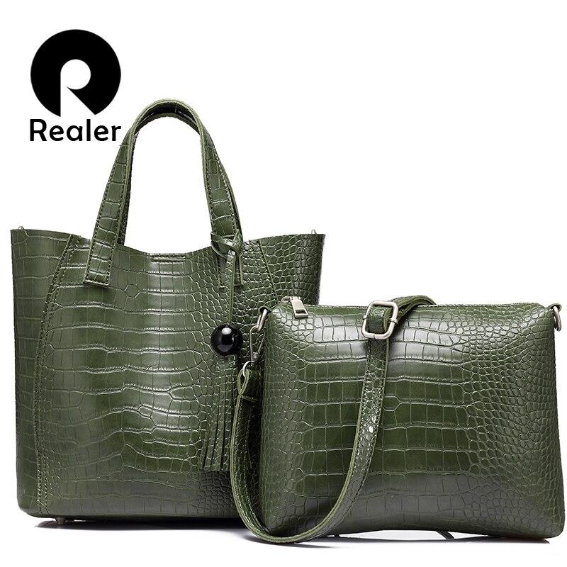 0943d11ccc REALER 2pcs set women pu leather handbag high quality serpentine totes ladies  shoulder crossbody bag female messenger student