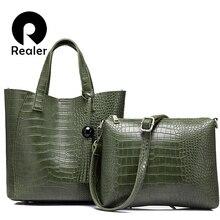 REALER 2 teile/satz frauen pu-leder handtasche hochwertige serpentin totes damen schulter crossbody-tasche weibliche messenger student