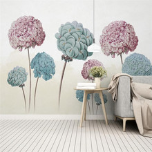 European retro hand-painted hydrangea flower TV background wall custom wallpaper mural