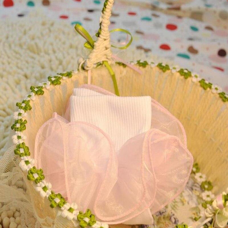 1 пара жаккардового переплетения цветок Кружевные носки для девочек оборками лодыжки хлопковые носки