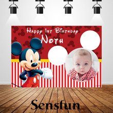 Sxy983 Vinyl Customized Children 1st Birthday Cake Table Banner Red Mickey Backdrop Background for Photo Studio 220cm x 150cm(China)