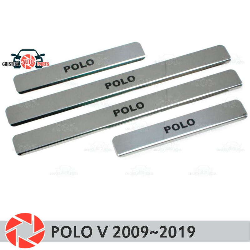 Door sills for Volkswagen Polo V 2009~2019 step plate inner trim accessories protection scuff car styling decoration black lette