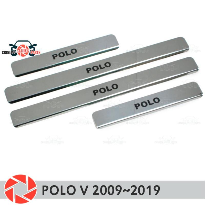 Seuils de porte pour Volkswagen Polo V 2009 ~ 2019 marchepied plaque garniture intérieure accessoires protection éraflure voiture style décoration noir lette