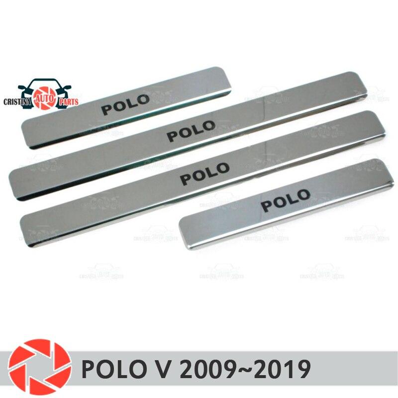 Soleiras de porta para Volkswagen Polo V 2009 ~ 2019 passo placa interna scuff guarnição acessórios de proteção decoração estilo do carro preto lette