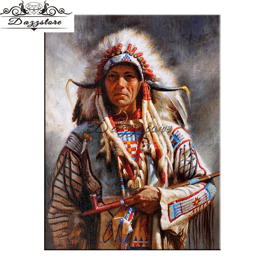 Full Square Drill 5D Diamond Painting Indians soldier Cross Stitch Mosaic Picture Of Rhinestone Diamond Embroidery Home Decor in Diamond Painting Cross Stitch from Home Garden