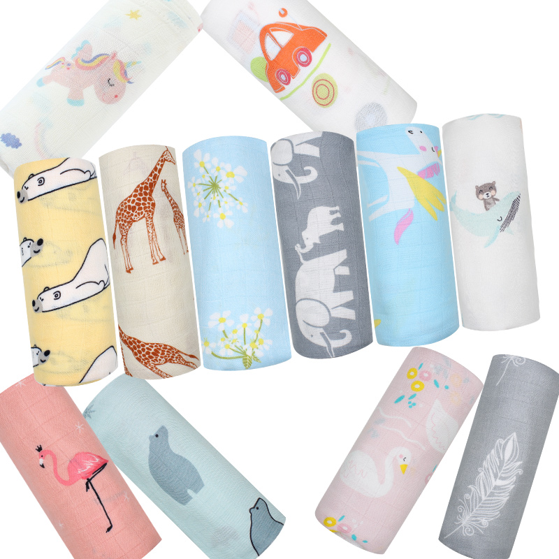 Baby Swaddle Blanket Muslin Bamboo Cotton Soft Wrap For Newborn Cartoon Printed Breathable Infant Bedding 120x120cm removable liner baby infant swaddle blanket 100