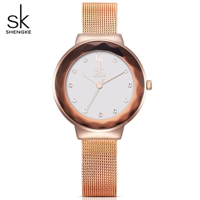 Watches Women New Creative Fashion Lrregularly Shaped Surface Rhinestones Dial Watch SK Ladies Quartz Wrist watches Female Clock