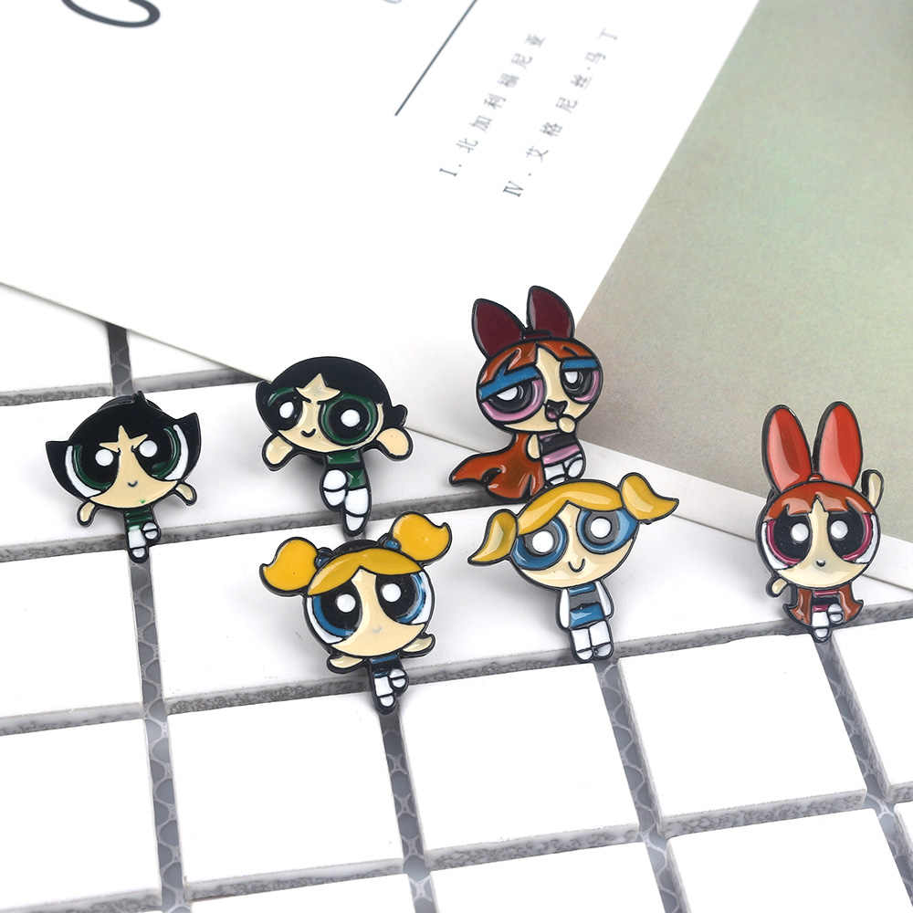 SG Animado Kawaii Gadis Powerpuff Bros Anak-anak Mantel Kemeja Xmas Spilla Perhiasan Hadiah DROP Shipping