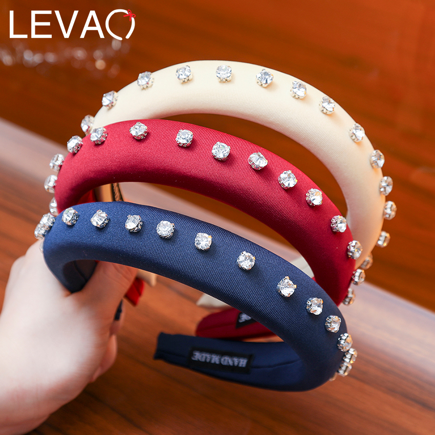 Levao Black Padded Headband With Rivet Spanish Style Hair Accessories Baroque Black Crystal Headband 1.5cm Padded Head Band