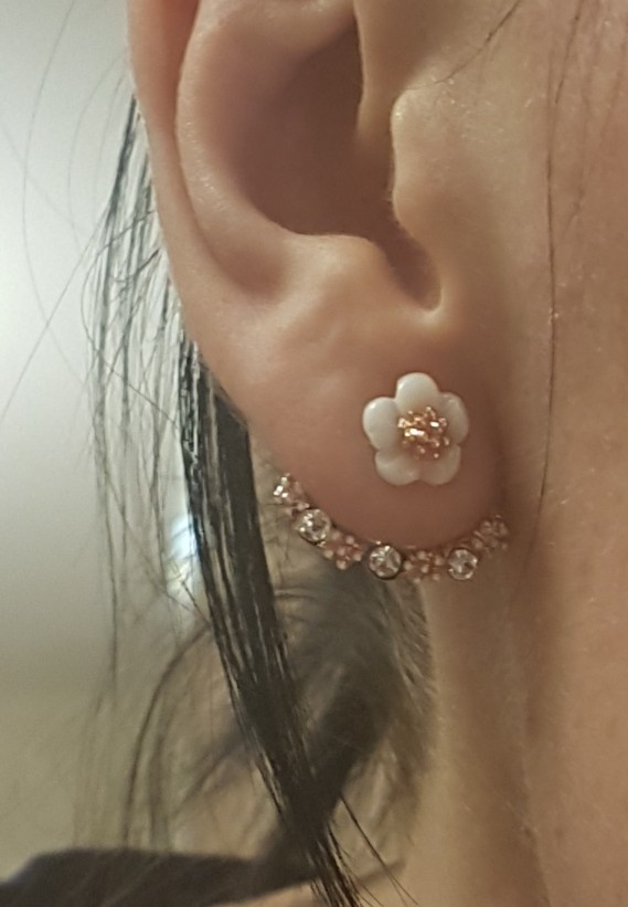 Flower Crystals Stud Earrings for Women Rose gold color Double Sided Fashion Jewelry Earrings female Ear brincos Pending