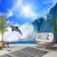 다른 태양 빛나는 푸른 바다 파도 돌고래 3d 인쇄 사진 깨끗한 패브릭 벽화 홈 장식 거실 침실 배경 벽지|벽지|   -