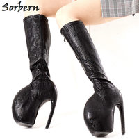 Sorbern Custom Savage Beauty Shoes Knee High Boots Women Snake Print Celebrity Inspired Boot Women Plus Size Round Toe Sexy Boot