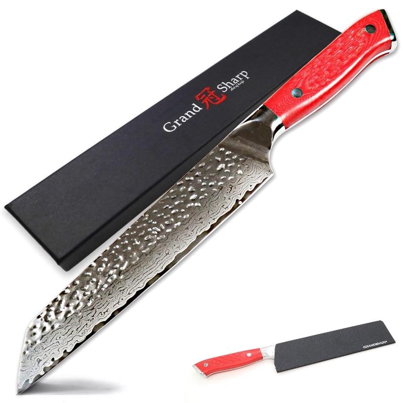 Nowy rok 2018 Model nóż szefa kuchni ze stali damasceńskiej 8.5 Cal japoński damaszek ze vg10 stali nierdzewnej kuchnia Kiritsuke nóż narzędzia kuchenne w Noże kuchenne od Dom i ogród na  Grupa 1