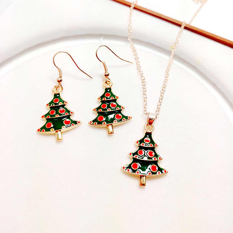 2018 Creative Enamel Christmas Tree Pendant Necklace Drop Earring Jewelry Set For Women Kids New Year Xmas Party Gift Jewellery