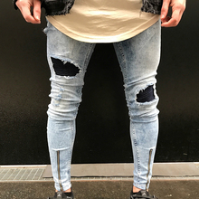 Men's Fashion Ripped Skinny Jeans Frayed Slim Fit Denim Pants Trousers Gift