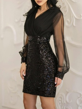 First song sequined sexy dress New2019 womens summer black retro elegant one-shoulder one word shoulder long