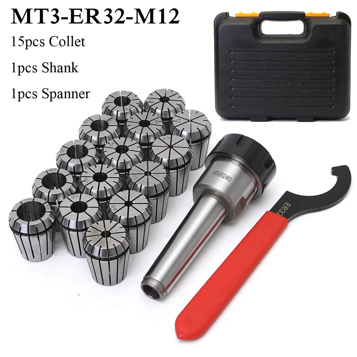 New MT3 ER32 M12 Collet Chuck Taper Holder + 15Pcs ER32 Spring Collet 3-20mm Spanner