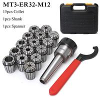 New MT3 ER32 M12 Collet Chuck Taper Holder + 15Pcs ER32 Spring Collet 3 20mm Spanner