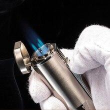 Новая Мощная Тройная зажигалка, ветрозащитная зажигалка, факфонарь ная турбо зажигалка, ручка распылитель, металлическая зажигалка для сигар 1300 с, без газа