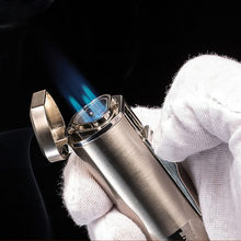 New Powerful Three Nozzles 3 Blue Fire Jet Lighter Torch Turbo Lighter Pen Spray Gun Windproof Metal Cigar Lighter 1300 C NO GAS(China)