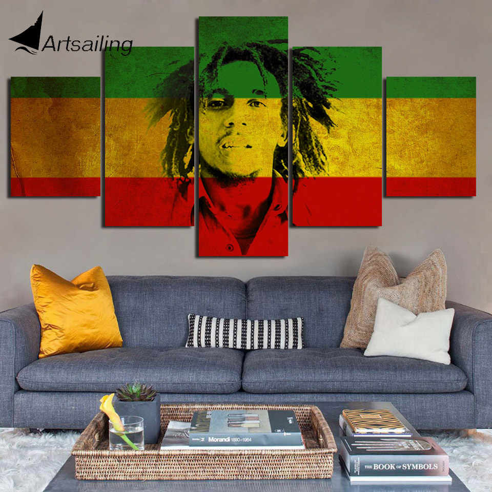 Decorative Painting 5 Piece HD Printed bob marley Jamaica weed poster Painting Canvas Print Room Decor Poster Picture Canvas Art