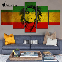 Decorative Painting 5 Piece HD Printed bob marley Jamaica weed poster Canvas Print Room Decor Poster Picture Art