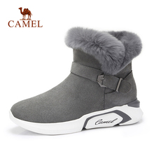 CAMEL Women Winter Snow Boots Women Fashion Casual Ankle Fur Warm Short Boots For Girls Platfrom Med Heel Short Plush Shoes