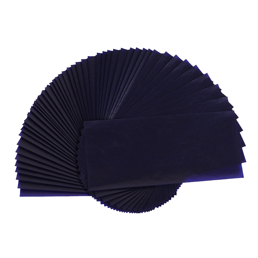 50PCS Double Sided Carbon Paper Thin Type Blue 48K Stationery Paper Finance Office Supplies