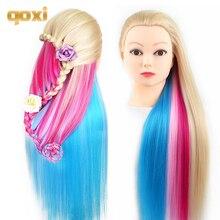 Qoxi Professional training головки с длинными толстые волосы Парикмахерская практика манекен куклы укладки волос maniqui tete для продажи