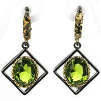 SheCrown verde peridoto regalo para niñas 925 negro pendientes de plata y oro 38x26mm