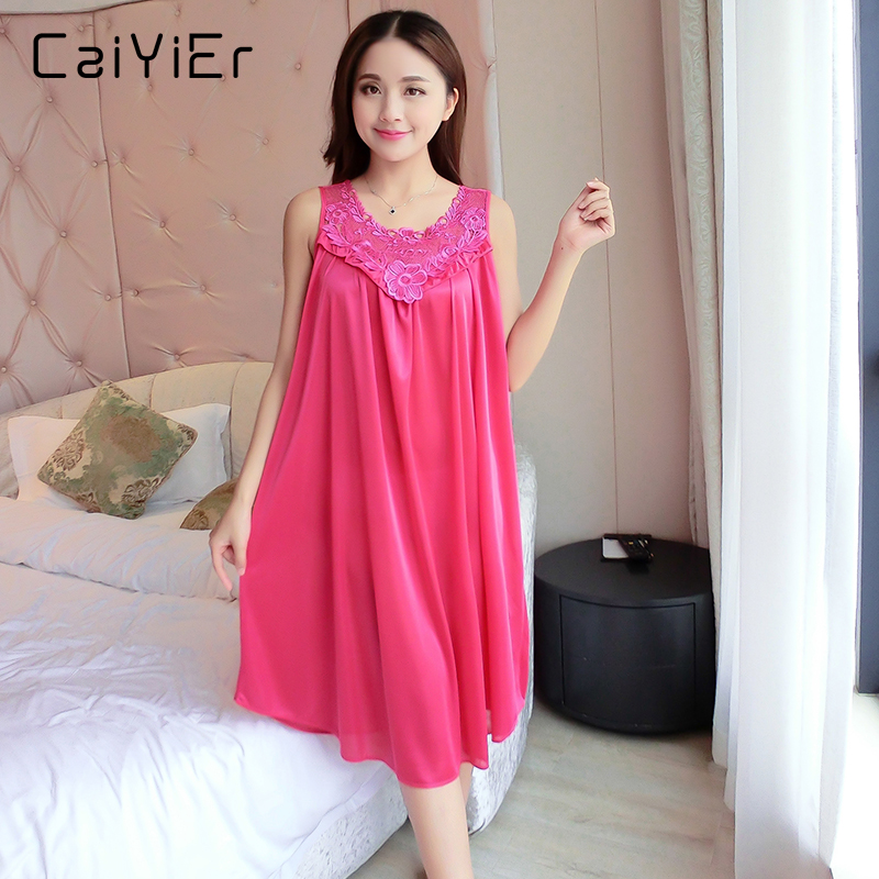 Caiyier Women Long Appliques Nightgowns Summer O-Neck Black Nightwear Sleepwear Female Casual Pink Solid Nightgowns XD816