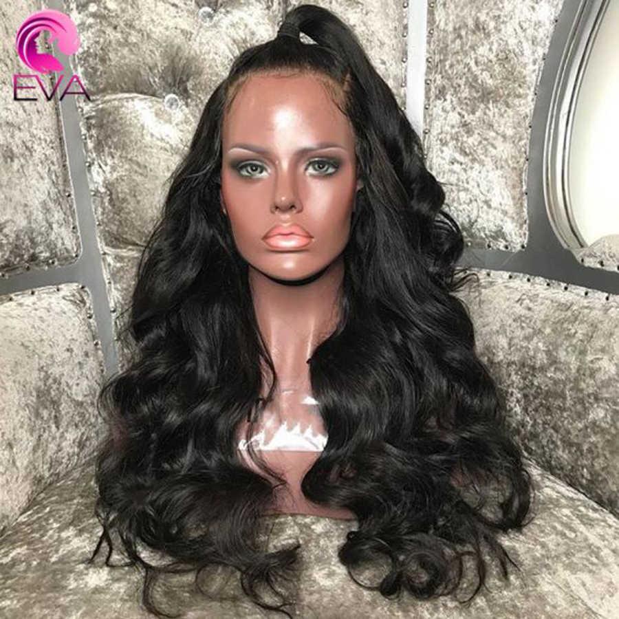 Pelo de Eva 360 pelucas frontales de encaje Pre desplumado con pelo de bebé brasileño onda del cuerpo sin pegamento pelucas de pelo Remy para las mujeres negras