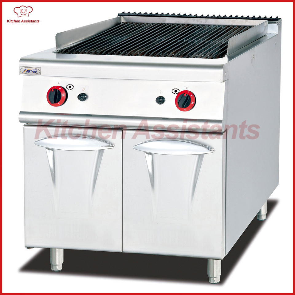 GH789 gas lava rock grill with cabinet of kitchen equipment