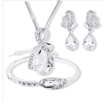 New Wholesale Austrian Crystal Jewelry Sets Water Drop Pendant Necklace Stud Earring Bracelet Silver Plated Jewellery Women 4