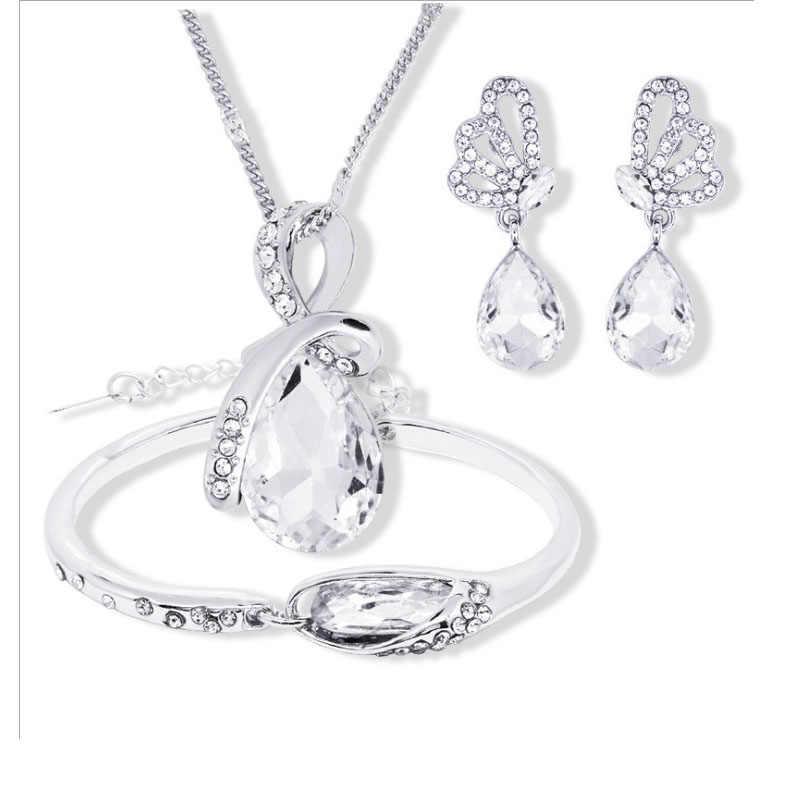 2018 nova atacado conjuntos de jóias de cristal austríaco gota de água pingente colar brinco pulseira banhado a prata jóias femininas