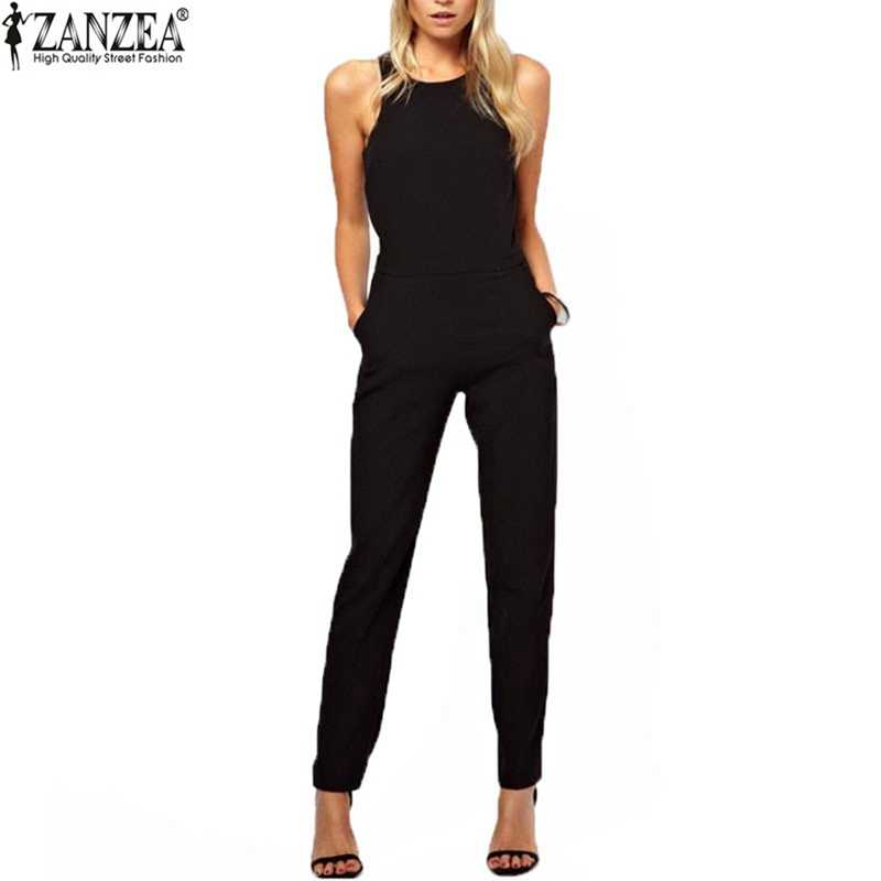 62dd82ef85 2018 ZANZEA Summer Rompers Womens Jumpsuit Sexy Casual Sleeveless Elegant  Long Playsuits Overalls Bodysuit Trousers Plus