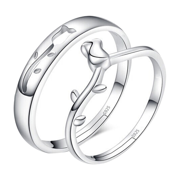 Trendy Jewelry Rose Opening Adjustable Valentine Couple Ring Color Silver Plated