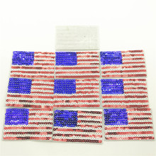 50pcs 3.5*6.0cm Sequin American Flag Embroidered Patches USA United States of America Military Uniform Emblem