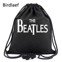 Birdlaef Women Men Nylon Plain Black Shoes Waterproof String Bag Female Daily Everyday Drawstring Backpack Storage Bags